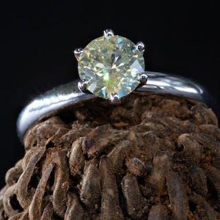 14 kt. White gold - Ring - 1.14 ct Diamond - Fancy...