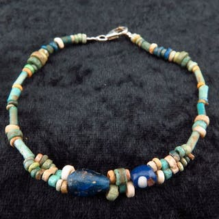 Ancient Egyptian faiance bracelet with decorated glass beads - (1)