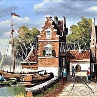 Jan van Riemsdijk (1879-1954)-3x Stadsgezicht Amsterdam