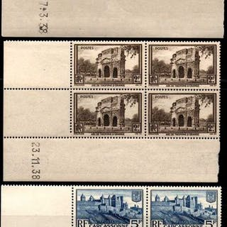 Francia 1938/1939 - Lot of 9 dated corners **