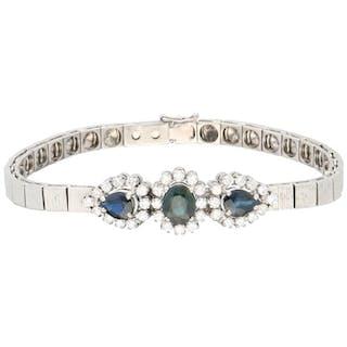 14 kt. White gold - Bracelet - 1.08 ct Diamond - Sapphire