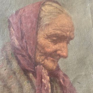 Achille Petrocelli - Old Lady wearing Scarf