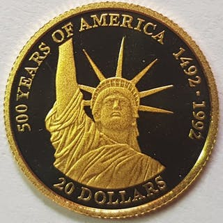 Cook-Inseln - 20 Dollar 1995 Statue of Liberty - 1/25 Oz - Gold