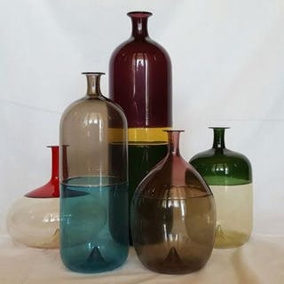 Tapio Wirkkala - Venini - Complete set of five vases ´Bolle´ (5) - Stained glass