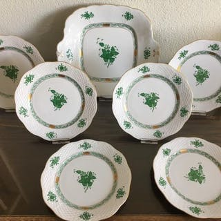 Herend - Apponyi Green pastry set (7) - Porcelain