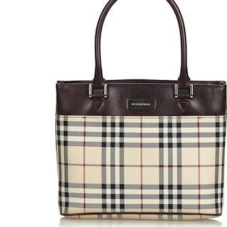 Burberry - Plaid Coated Canvas Handbag Handbag
