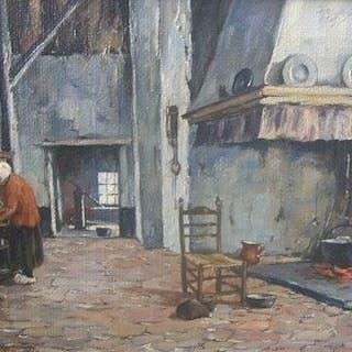 Piet Rackwitsz (1892-1968) - Boereninterieur