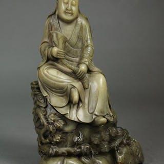 Male face Guanyin - Soapstone - China - Late 20th century