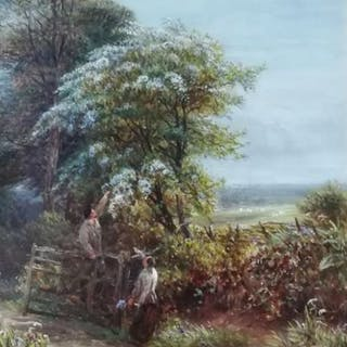 Charles Thomas Burt (XIX-XX- - Cueillette fleur de pommier