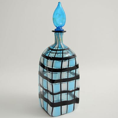 Attr. Barovier & Toso - Bottiglia a sezione quadra - Vetro a canne incrociate