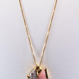 Raima - 18 carati Oro giallo - Collana con pendente Zaffiro rosa - Diamanti