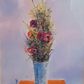 Giovanni Omiccioli - Vaso azzurro con fiori