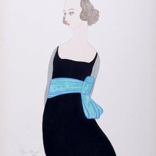 Robin d'Erlanger  - Femme à la Robe Noir - Pochoir Art Déco original, C.1919