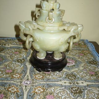 Incensiere tripode 'ding' (1) - Giada - Dragon - Cina - XIX secolo