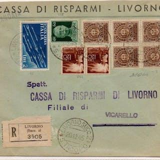 Italia 1945 - Busta affrancatura mista (Regno - Luogotenenza - Repubblica)