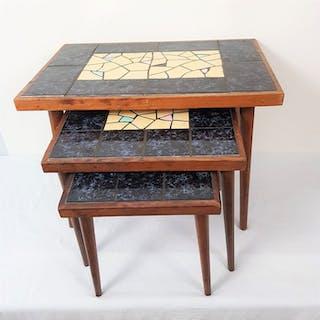 Teak Keramik Mosaik Mini Set / Beistelltische (3)