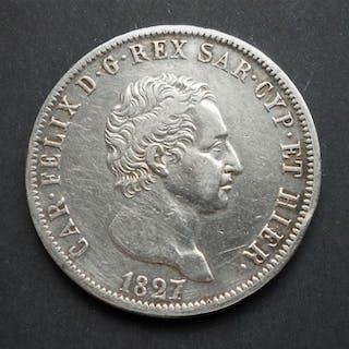 Italia - Regno di Sardegna - 5 Lire 1827 - Genova - Carlo Felice - Argento