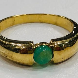 18 kt. Yellow gold - Ring Emerald