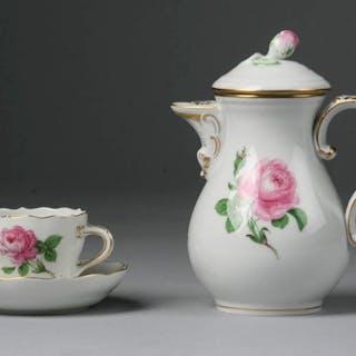 Meissen - Caffettiera, tazza e piattino - Porcellana