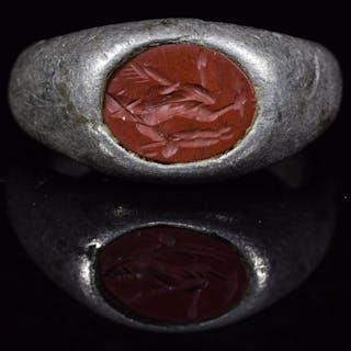 Roma antica Argento Anello Intaglio con God Pan