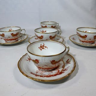 Ginori - 5 tazze decorate con decori in stile cinese - Porcellana