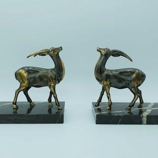 Coppia di fermalibri Art Deco, antilopi