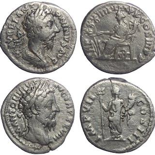 Impero romano - Lot comprising 2 AR Denarii: Marcus...