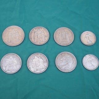 Frankreich - Lot de 8 monnaies (5 Francs a 50 Francs) 1869/1978 - Silber