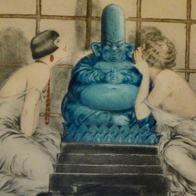 Louis Icart (1888-1950) - 'La Confidence'- Eau forte Art Deco