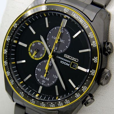 "Seiko - Solar Chronograph ""Sport Luxury"" All Black-Yellow - Uomo - 2018"