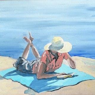 Nicolas Maillet - Liseuse à la plage