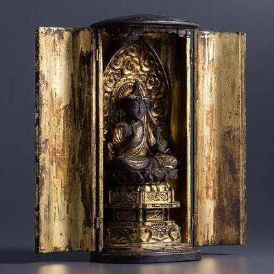 Amida Buddha gilded wood w/ zushi box - Bois