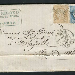 Francia 1872 - Letter from Paris to Marseille with double postage with Nos