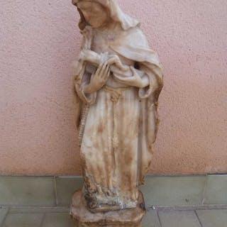 Alabaster Sculpture - Santa Rosa da Lima - 55 cm - mid-17th century
