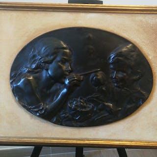 Bas-relief Sculpture - Maternity - Romantic - Bronze - Late 19th century