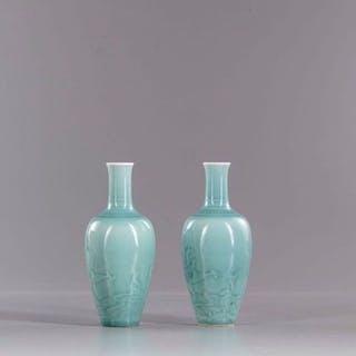 Vasen (2) - Porzellan - China - Ende des 20. Jahrhunderts