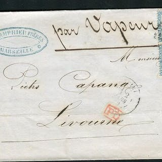 Francia 1869 - Rare letter from Marseille to Livorno (Italy) with a pair of No