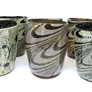 Serviergläser ohne Formen mit Murrina und Blattsilber (6) - Murano Glass