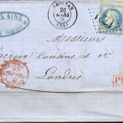 Francia 1868 - Rare letter from Grignan to London with a pair of No. 29