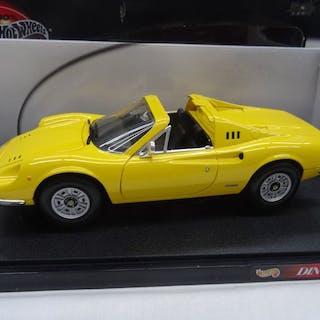 Hot Wheels - Maßstab 1:18 - Ferrari Dino 246 GTS - Farbe Gelb