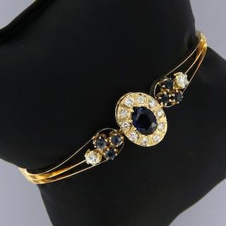 14 kt. Yellow gold - Bracelet - 1.40 ct Sapphire - Diamond