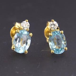 18 kt. Yellow gold - Earrings - 0.12 ct Diamond - Topaz