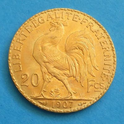 France -  20 Francs 1907 'Coq Marianne'  - Or