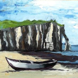Nicolas Maillet - Normandie, barque sur la grande plage d'Etretat