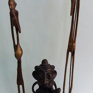 Statuetta(e) (3) - Bronzo - Africa