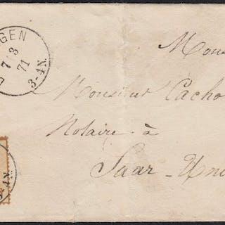 Frankreich 1871 - Alsace-Lorraine 10centimes bistre postmarked