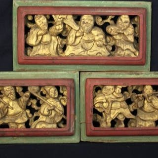 Tafeln (3) - vergoldet - Holz - Gott der Langlebigkeit...