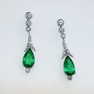 18 quilates Oro blanco - Pendientes - 3.05 ct Esmeralda - Diamantes
