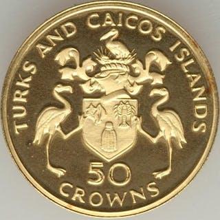 Isole Turks e Caicos - 50 Crown 1974 Churchill - Oro