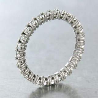 18 kt. White gold - Ring - 1.01 ct Diamond